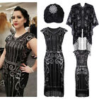 Vintage 1920s Inspired Sequin Embellished Fringe Long Gatsby Flapper Dress 4-20