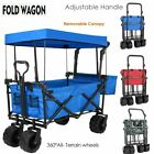 Pull Push Collapsible Folding Wagon Beach Cart Outdoor Garden Camp Canopy Sports