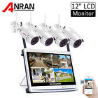 "ANRAN WIFI Home Security Camera System Wireless Outdoor with 12"" Monitor 8CH NVR"