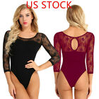Women Adult Ballet 3/4 Sleeve Lace Back Leotard Gymnastics Ballet Dance Bodysuit