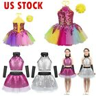US Kid Girl Sequined Jazz Dancewear Gymnastics Ballet Leotard Tutu Dress Costume