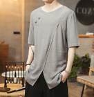 5XL Mens Cotton Linen Loose T-shirts Short Sleeve Slit Chinese Style Tops jy00
