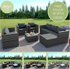 Rattan Garden Furniture Corner Sofa Armchairs Table Ottoman 7 Seater Free Cover