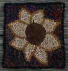 AUTUMN SUNFLOWER Primitive Rug Hooking KIT WITH #8 CUT WOOL STRIPS