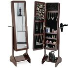 Giantex Standing Jewelry Armoire Mirrored Cabinet Organizer Coffee