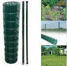 PVC Coated Galvanised Steel Wire Garden Fencing Fence Mesh Roll Metal Post Green