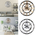 Large Vintage Wall Clock Skeleton Style Outdoor Indoor With Roman Numeral Metal
