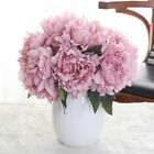 5 Head Bouquet Artificial Silk Fake Large Peony Flower Wedding Party Home TA