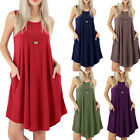 Women's Fashion Summer Sleeveless Dress Loose Pockets Casual Swing T-Shirt Dress