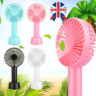Mini Portable Hand held Desk Fan Cooler Cooling USB Rechargeable 3-Modes Girl UK