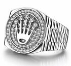 Mens LION 9K White Gold Plated Silver Ring Ice Out Micro Pave Hip Hop pinky KING