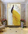 3D Golden Peacock B83 Wallpaper Wall Mural Removable Self-adhesive Sticker Zoe