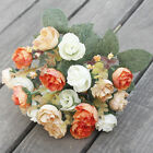21HEADS ARTIFICIAL SILK SMALL FLOWERS ROSE BUNCH Wedding Home Outdoor Decor-YY