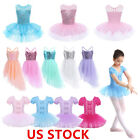US Stock Kids Girls Sequined Ballet Dance Leotards Tutu Dress Lyrical Dancewear