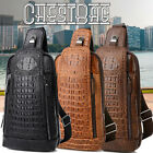 Men's Leather Crocodile Pattern Chest Bag Sling Backpack Crossbody Bags USA
