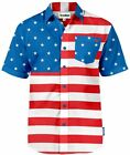 Tipsy Elves Men's American Flag Button Down Shirt - Patriotic USA Red White and