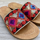 Delight Comfort Embroidered Sandal - Red