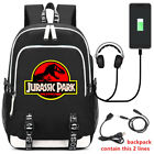 Jurassic Park Backpack USB Schoolbag Youth Laptop Travel Bag Luminous Edition