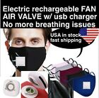 Reusable Face Mask Motorized Electrical Rechargeable Fan Washable w/ 2 Filters