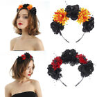 Boho Goth Floral Garland Crown Hair Wreath Flower Headband Headpiece for Party