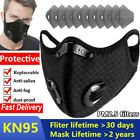 Washable Reusable Face Mask Black/gray Vent Valve With Filter & Activated Carbon