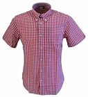Warrior Mens Red Gingham 100% Cotton Short Sleeved Shirts