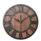 Wall Clock Home Decor Bar Roman Digital Wooden Craft Mechanism Retro Round Cafe