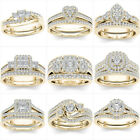 2pcs/set 18k Gold Plated White Topaz Couple Ring Wedding Jewelry Gifts