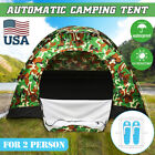 US 2-3 Person Waterproof Camping Tent Auto Pop Up Quick Shelter Outdoor Party PU