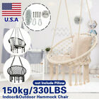 330lbs Macrame Hammock Chair Rope Hanging Round Indoor Garden Yard Swing Seat