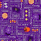 Frightful And Delightful Halloween Fabric Purple Words OOP Quilt Shop Quality