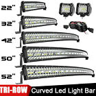 52/50/42/32/22inch Curved LED Light Bar Driving Truck SUV Tri-Row Wire Pods Kit