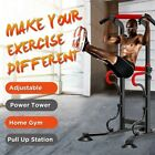 Power Tower Pull Up Bar Dip Station with Sit Up Bench Indoor Home