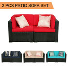 2pcs Patio Outdoor Wicker Rattan Furniture Garden Sofa Set Cushions Couch Chairs
