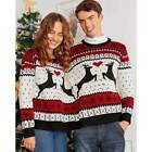 Christmas Couples Funny Sweater Hooded Pullover Women Men Xmas Winter Jumper Top