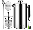 Veken French Press Double-Wall 18/10 Stainless Steel Coffee & Tea Maker-1L