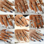 Vintage Leaves Love Multi-theme Above Knuckle Ring Set Stack Midi Band Ring