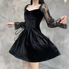 Womens Girls Gothic Velvet Lace Long Sleeves Square Neck Lolita Dress Slim Skirt