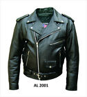 Size 30 Mens Classic Black Belted Leather Motorcycle Biker Jacket