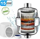 15Stage Shower Head Water Filter Hard Water Softener w/Replacement for Dry Skin