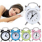 Retro Mini Round Alarm Clock  Movement Bedside Night Analog Clock Digital Sound