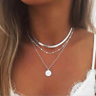 Women Chic Charm Jewelry Pendant Chain Multi Layer Plated Gold Choker Necklace