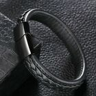 Mens Leather Braided Bracelet Wristband Stainless Steel Clasp Jewellery Gifts