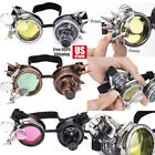 LED Light Steampunk Goggles Vintage Glasses Punk Round Sunglass Xmas Cosplay New