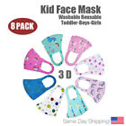 8 Pack Fashion 3D Face Mask, Washable, Reusable, Breathable, for Kids Boys Girls