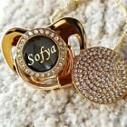 Внешний вид - Bling Uniques Personalized Pacifier Clip Bpa Free Dummies Any Name Can Make Gold
