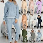 Women Fashion Casual Hoodie Tops Pockets Plush Long Sleeve Long Pants Home Suit
