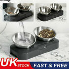 Pet Dog Cat Bowl Dual Elevated Stainless Steel Puppy Feeder Food Water Stand UK