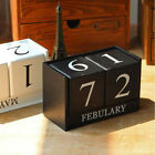 Vintage Wooden Perpetual Calendar Month Date Showing Home Office Decoration Ei