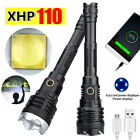 200000LM LED XHP110 Flashlight Torch USB Rechargeable Torch Zoom Hunting Lamp